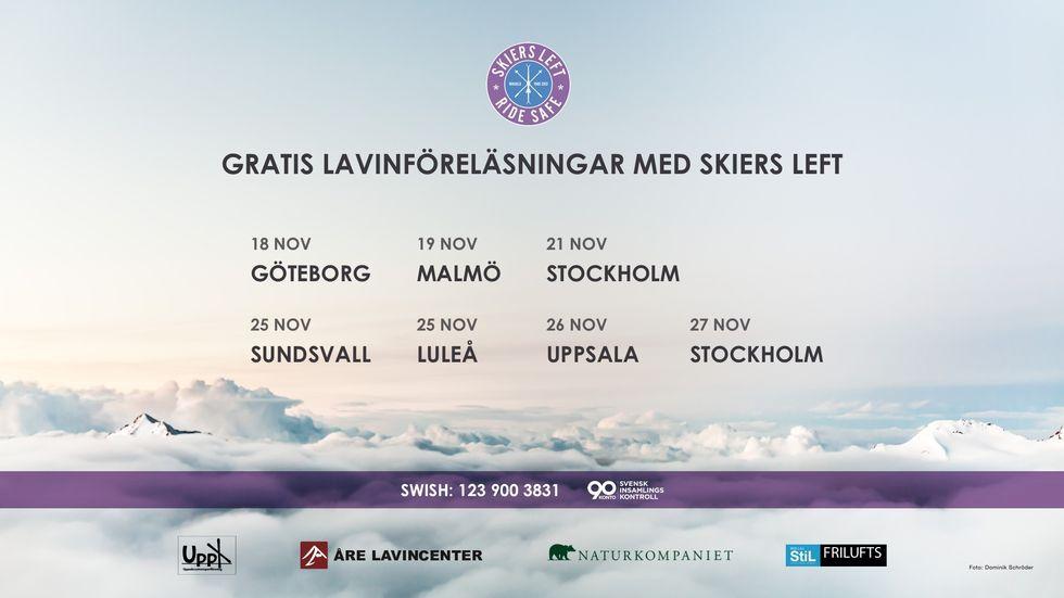 Datum för gratis lavinföreläsningar med Skiers Left i höst