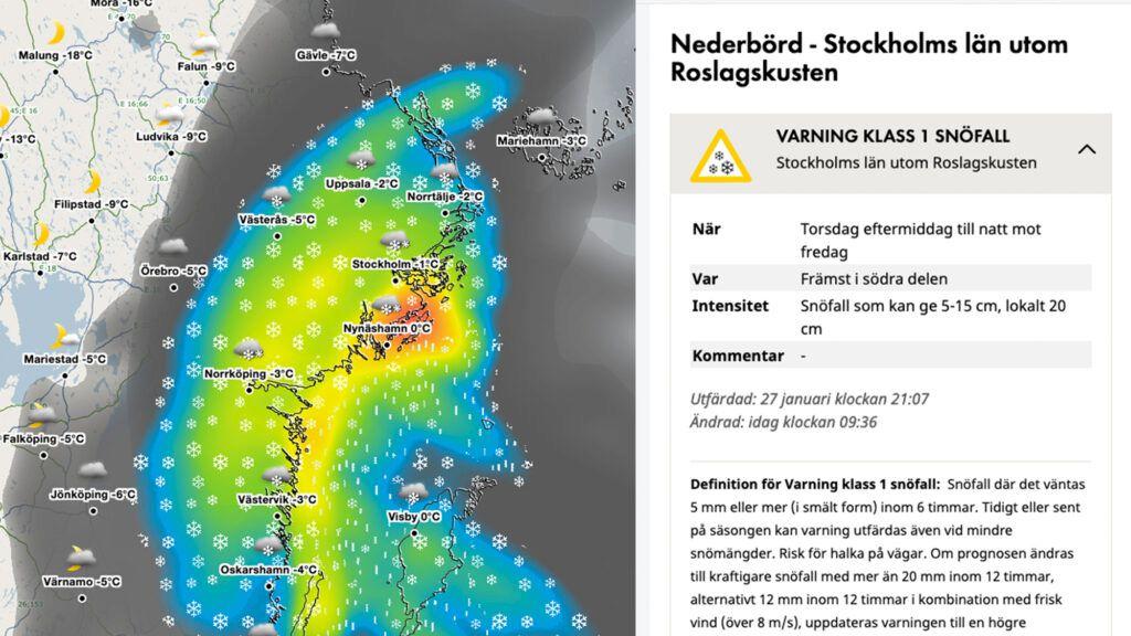 Utdrag ur SMHIs Puderindikator, även känd som Vädervarningar i Sverige