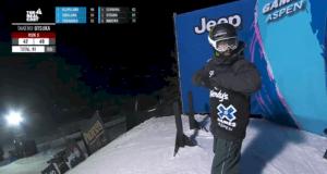 Sven Thorgren på start innan sitt avslutande medaljåk.